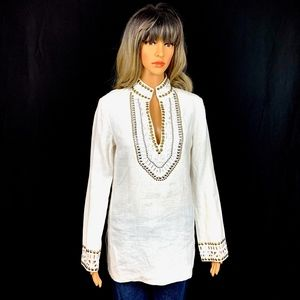 Tory Burch Linen Embellished Studded Tunic White 4